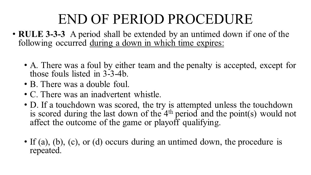 END OF PERIOD PROCEDURE