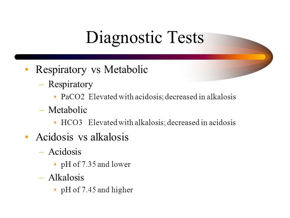 Diagnostic Tests Respiratory vs Metabolic Acidosis vs alkalosis
