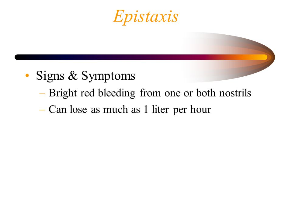 Epistaxis Signs & Symptoms