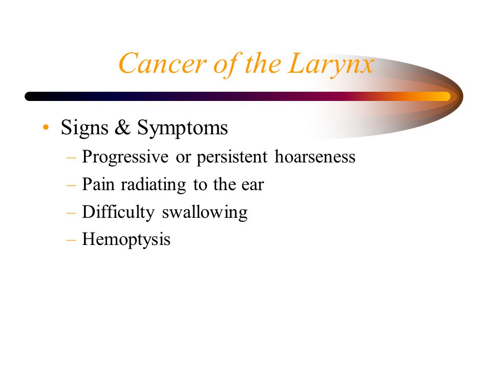Cancer of the Larynx Signs & Symptoms