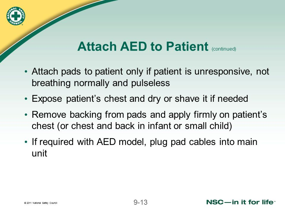 Attach AED to Patient (continued)