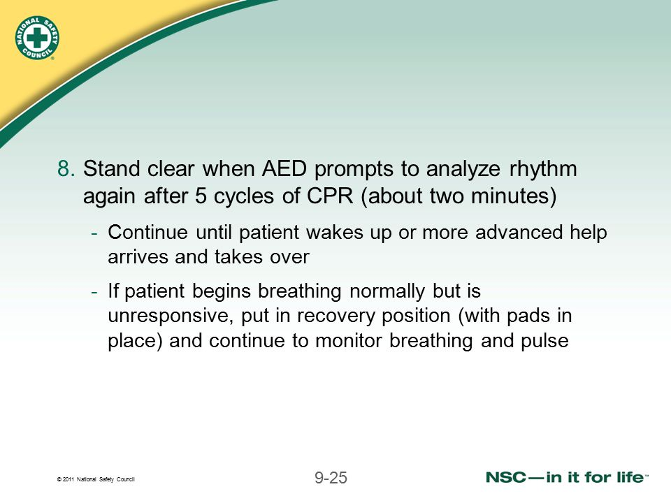 Stand clear when AED prompts to analyze rhythm again after 5 cycles of CPR (about two minutes)