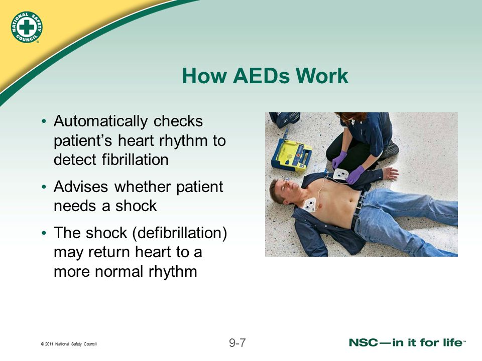 How AEDs Work Automatically checks patient's heart rhythm to detect fibrillation. Advises whether patient needs a shock.