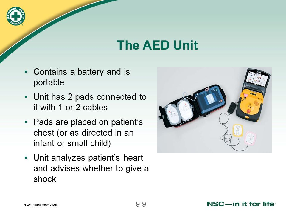 The AED Unit Contains a battery and is portable