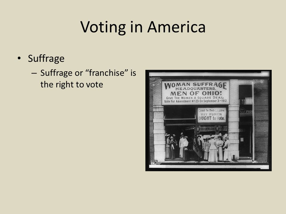 Voting in America Suffrage