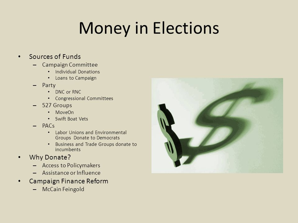 Money in Elections Sources of Funds Why Donate