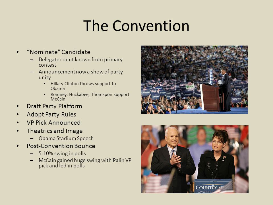 The Convention Nominate Candidate Draft Party Platform
