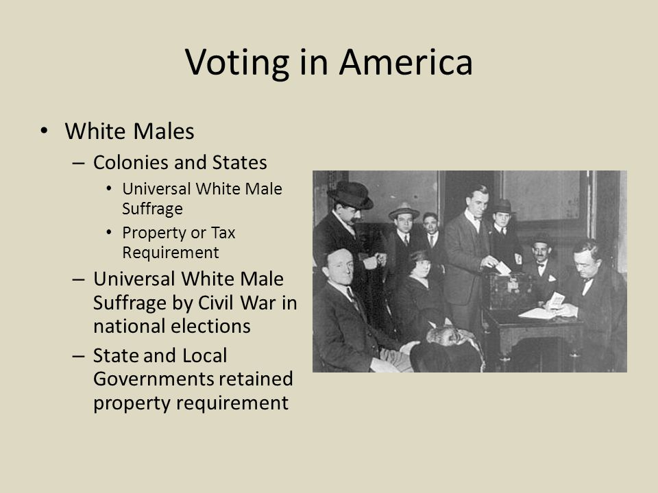 Voting in America White Males Colonies and States