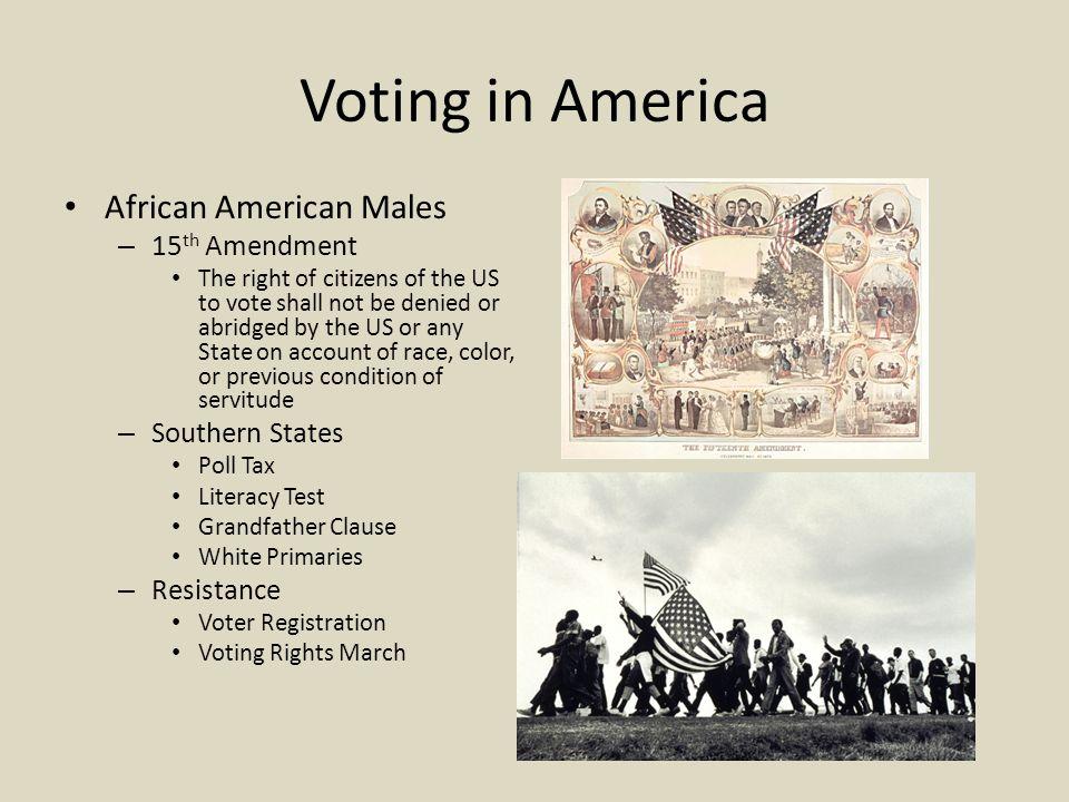 Voting in America African American Males 15th Amendment