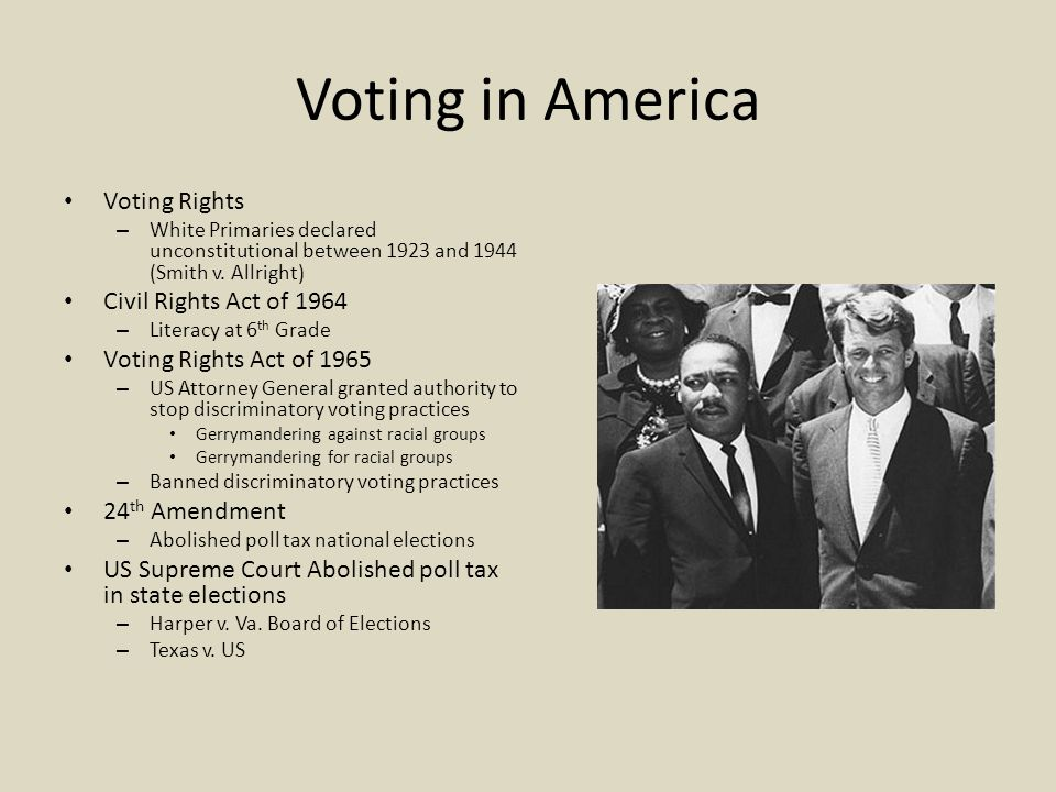 Voting in America Voting Rights Civil Rights Act of 1964