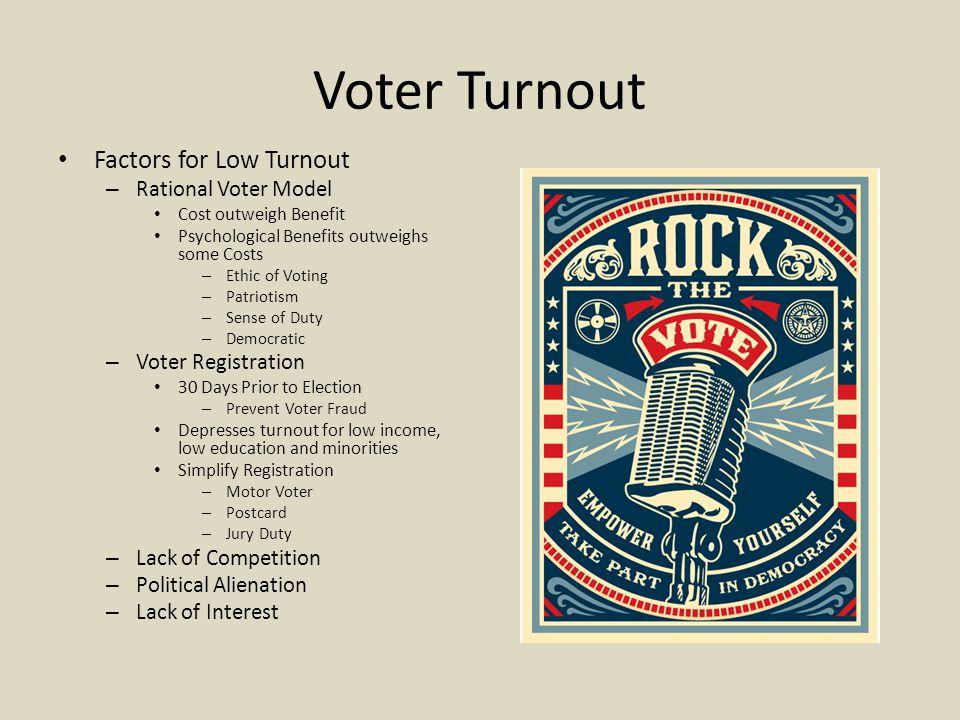 Voter Turnout Factors for Low Turnout Rational Voter Model