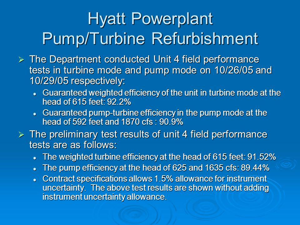 Hyatt Powerplant Pump/Turbine Refurbishment