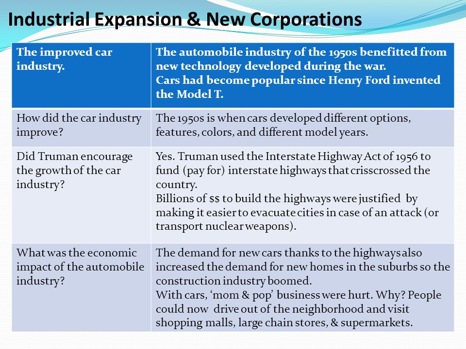 Industrial Expansion & New Corporations