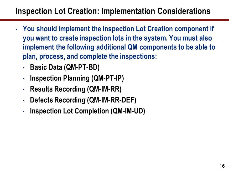 Inspection Lot Creation: Integration