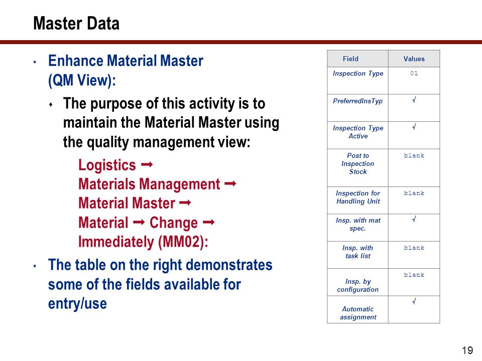 Master Data (cont.) Create Master Inspection Characteristic: