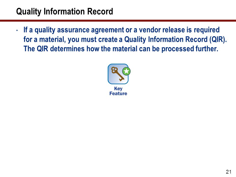 Quality Information Record (cont.)