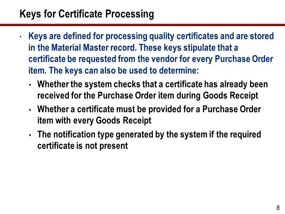Keys for Certificate Processing (cont.)