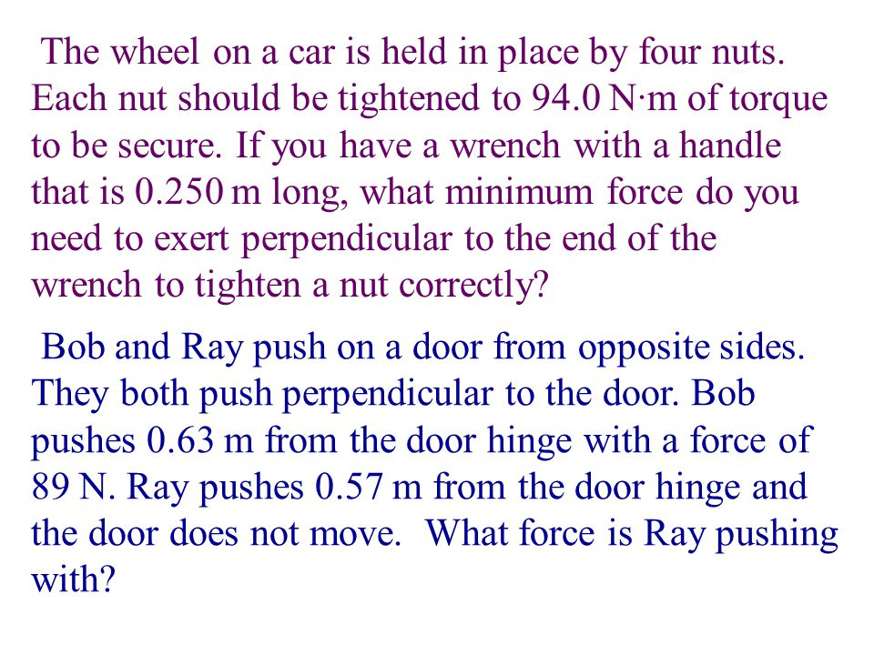 The wheel on a car is held in place by four nuts