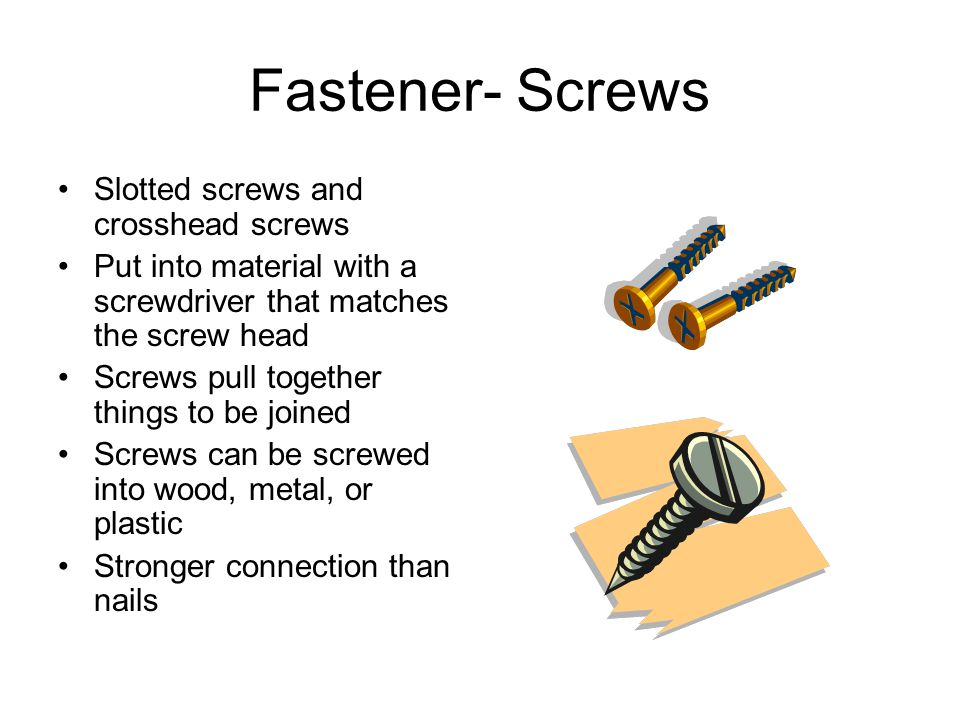 Fastener- Screws Slotted screws and crosshead screws