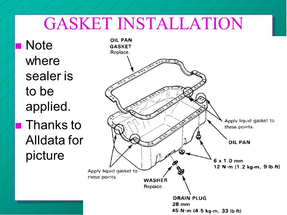 GASKET INSTALLATION Note where sealer is to be applied.