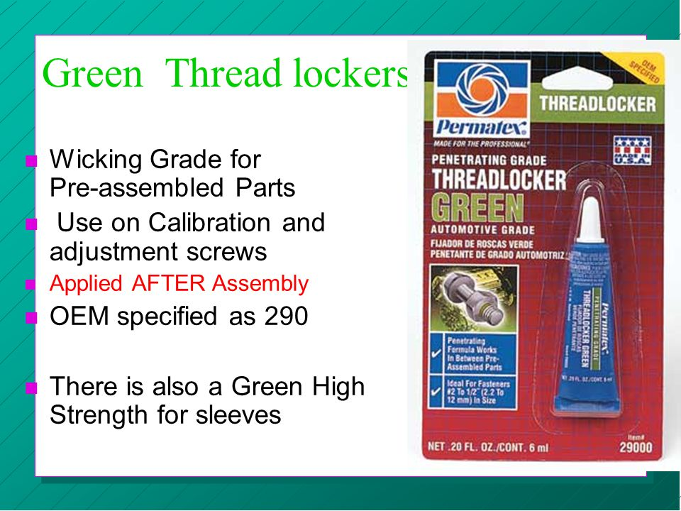 Green Thread lockers Wicking Grade for Pre-assembled Parts