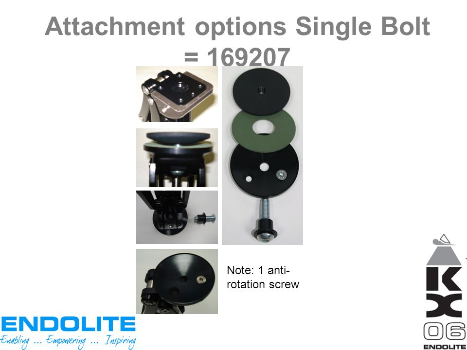 Attachment options Single Bolt = 169207