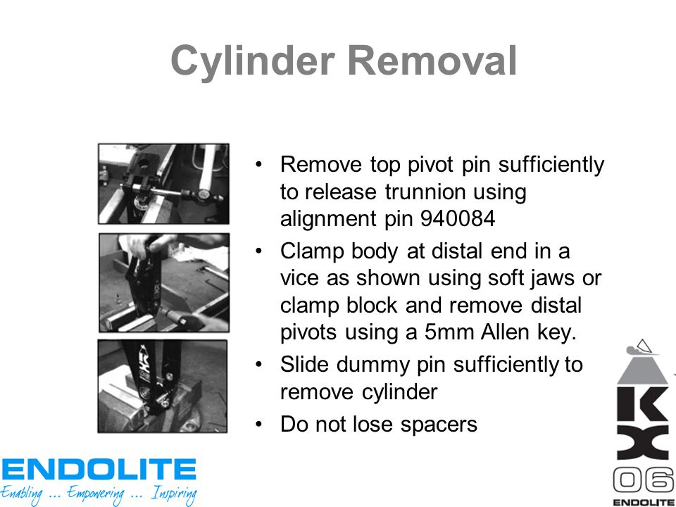 Cylinder Removal Remove top pivot pin sufficiently to release trunnion using alignment pin 940084.