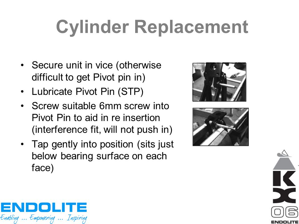 Cylinder Replacement Secure unit in vice (otherwise difficult to get Pivot pin in) Lubricate Pivot Pin (STP)