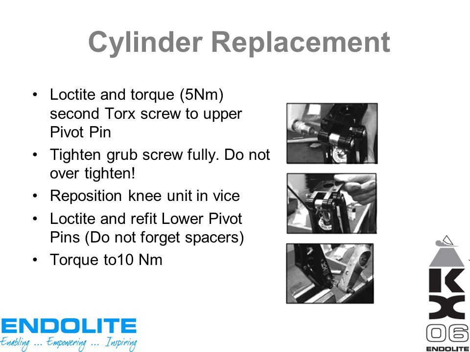 Cylinder Replacement Loctite and torque (5Nm) second Torx screw to upper Pivot Pin. Tighten grub screw fully. Do not over tighten!