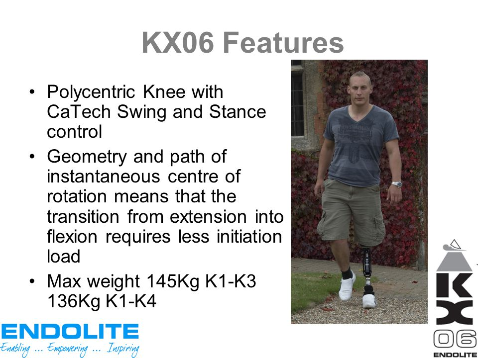 KX06 Features Polycentric Knee with CaTech Swing and Stance control