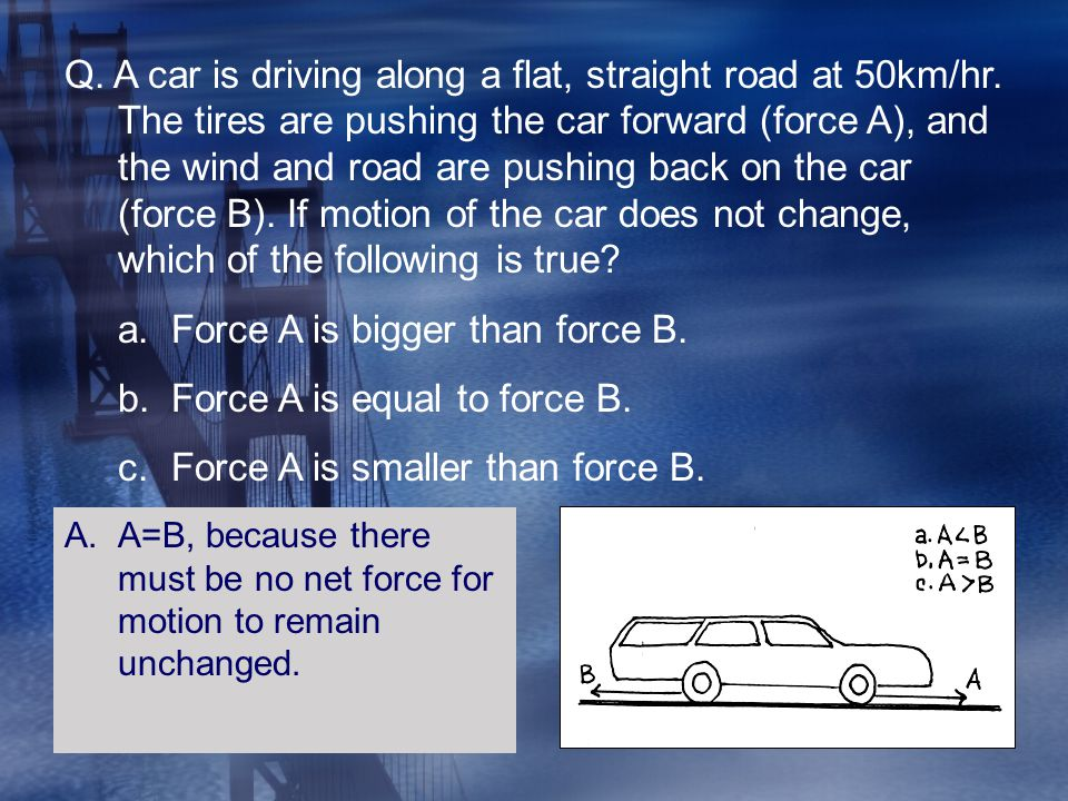 Force A is bigger than force B. Force A is equal to force B.