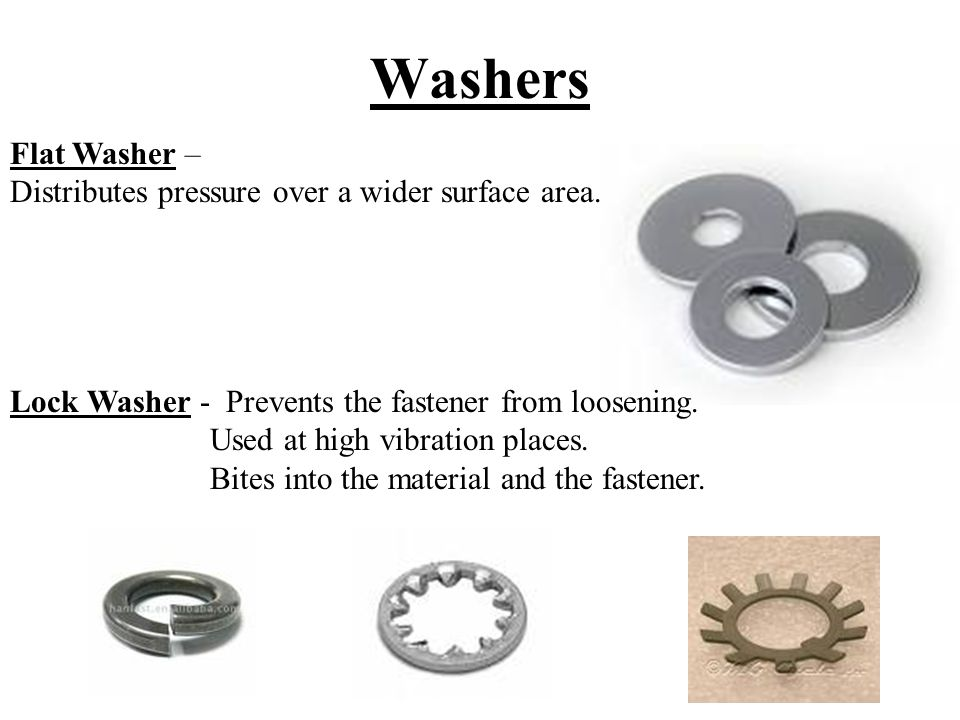 Fasteners Used to join together the various parts of the ...