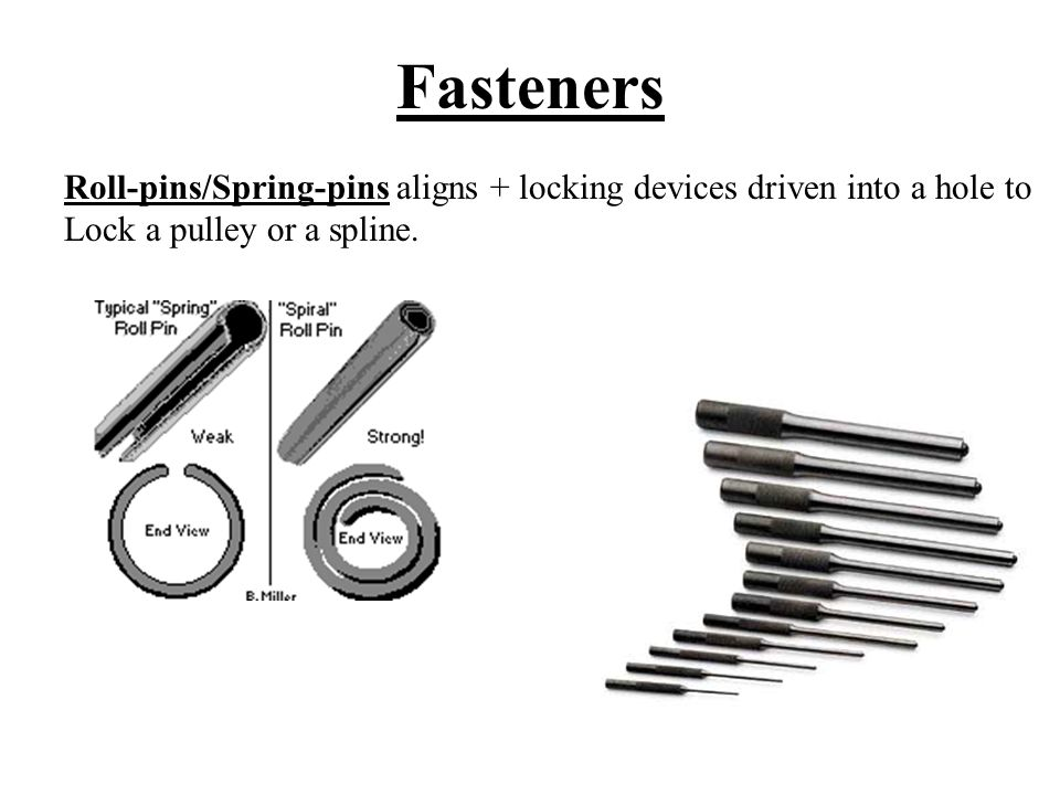 Fasteners Roll-pins/Spring-pins aligns + locking devices driven into a hole to.