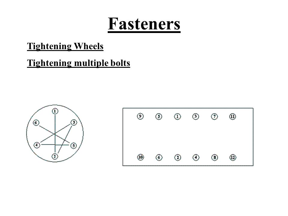 Fasteners Tightening Wheels Tightening multiple bolts