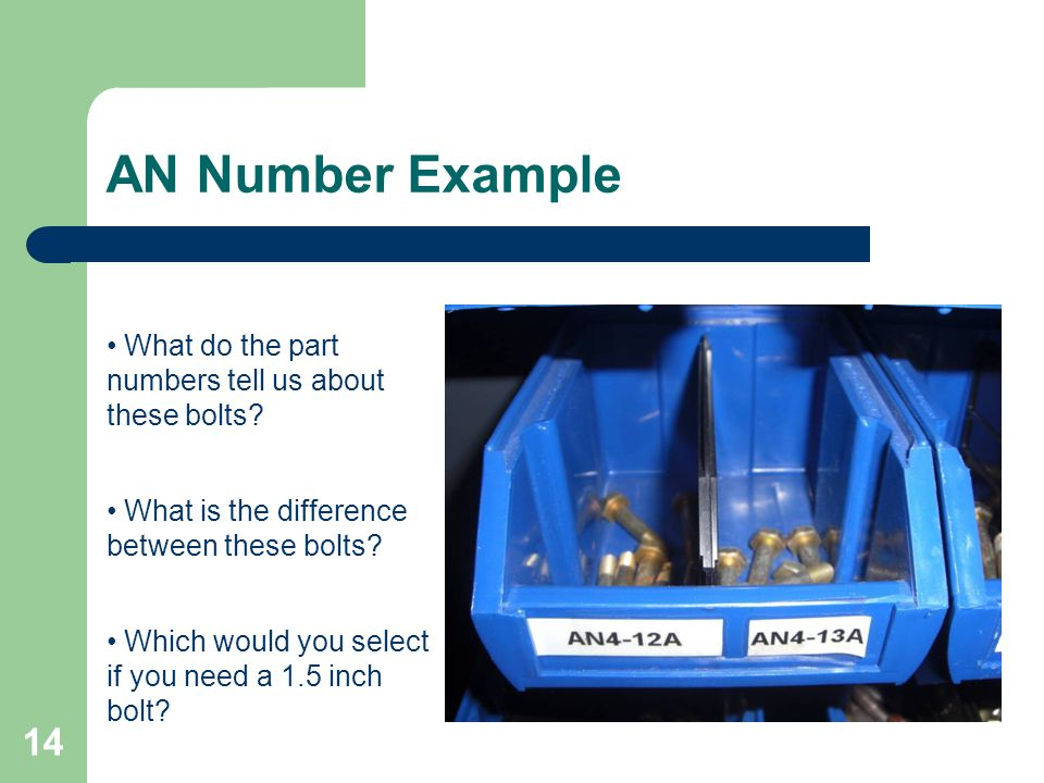AN Number Example What do the part numbers tell us about these bolts