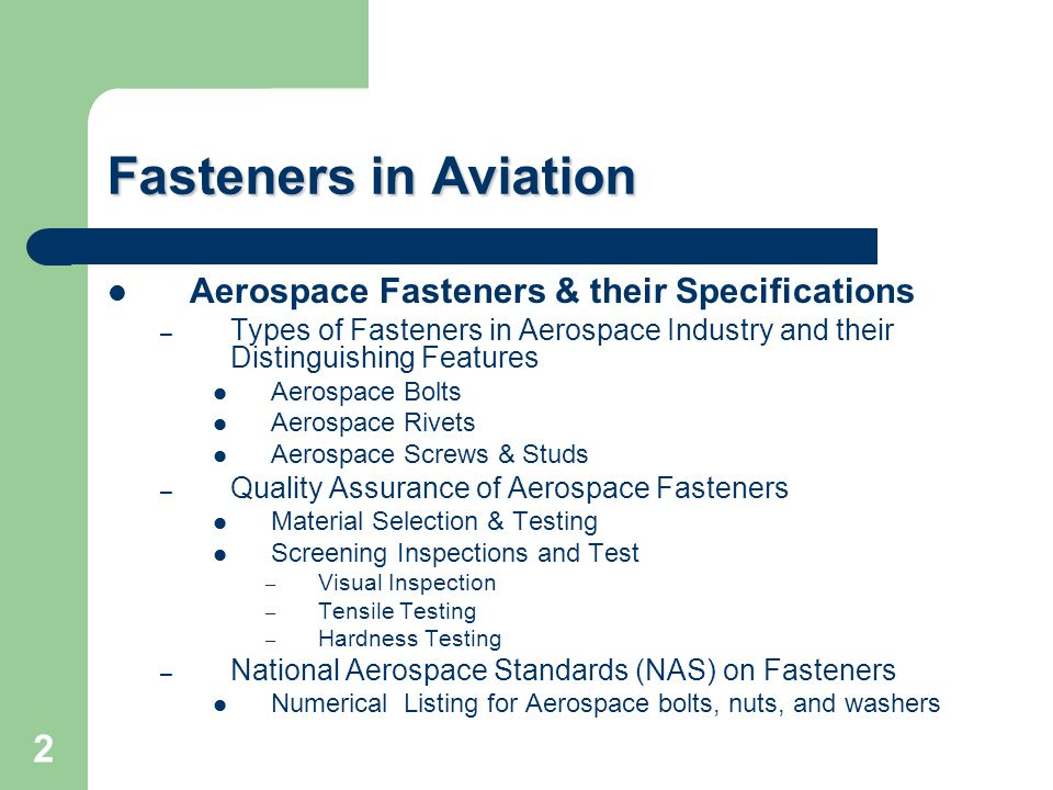 Fasteners in Aviation Aerospace Fasteners & their Specifications