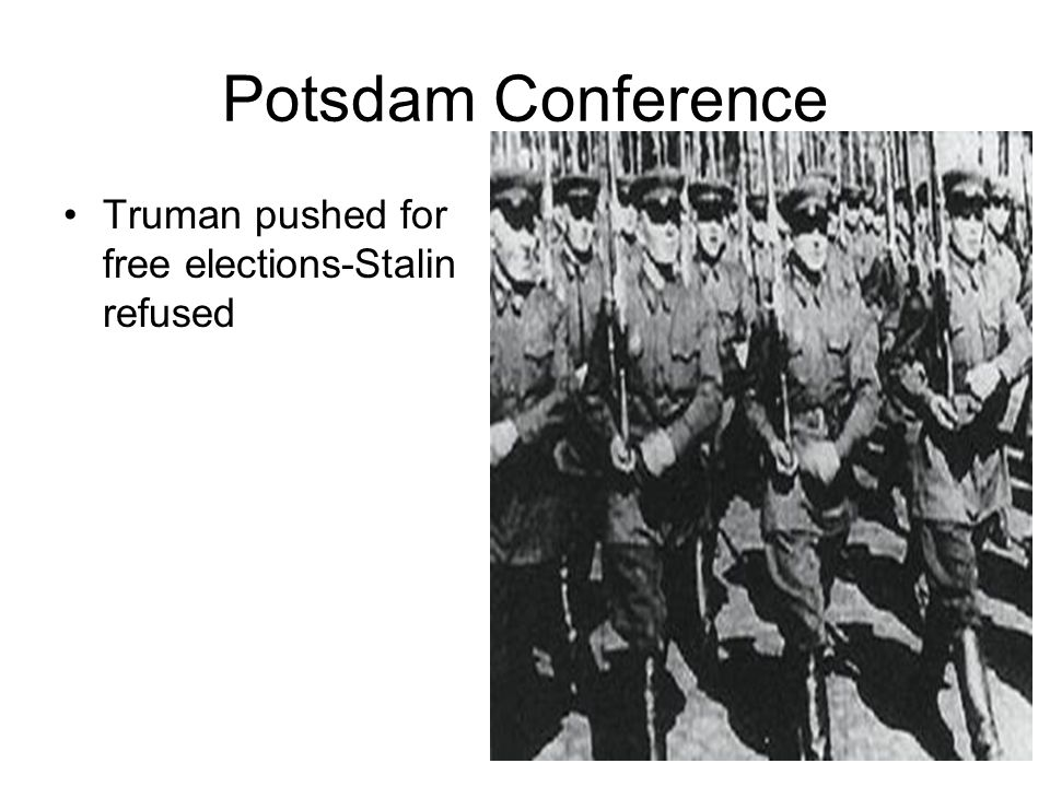 Potsdam Conference Truman pushed for free elections-Stalin refused