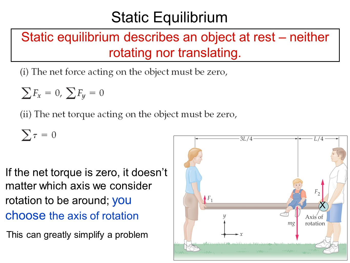 Static Equilibrium Static equilibrium describes an object at rest – neither rotating nor translating.