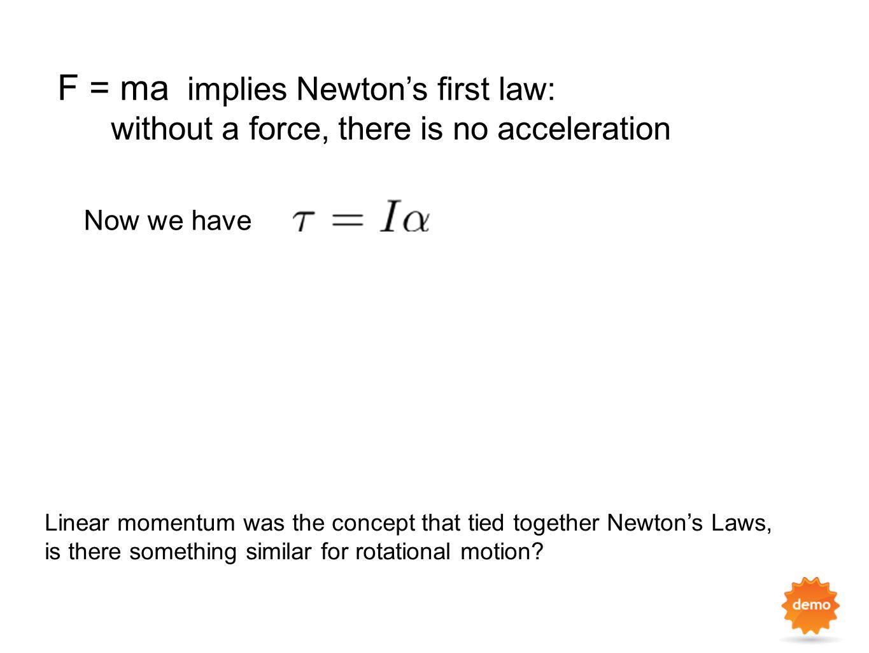 F = ma implies Newton's first law: