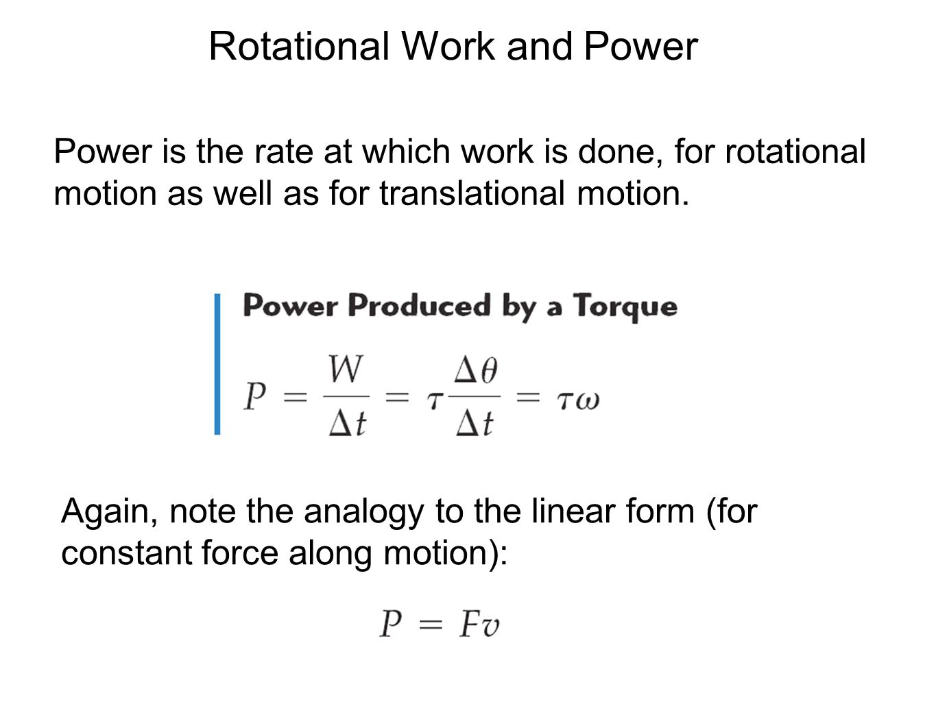 Rotational Work and Power