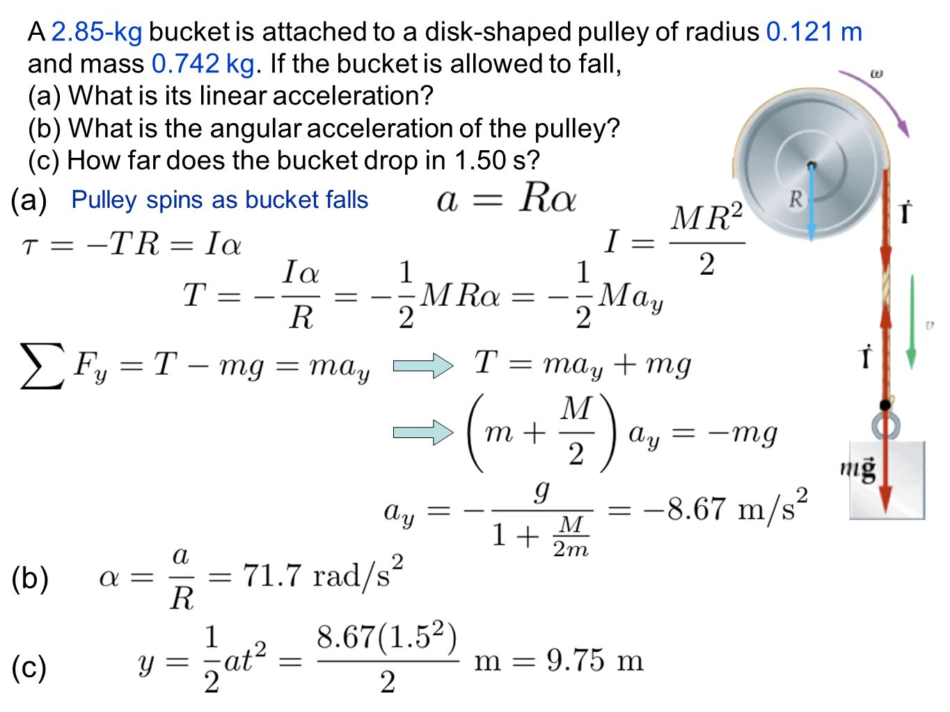 A 2. 85-kg bucket is attached to a disk-shaped pulley of radius 0