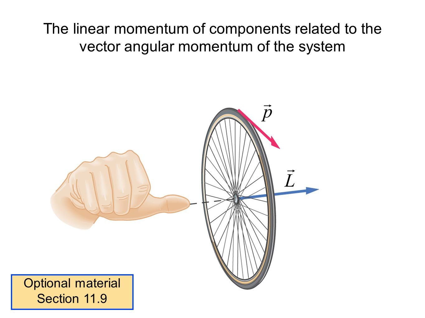 The linear momentum of components related to the vector angular momentum of the system