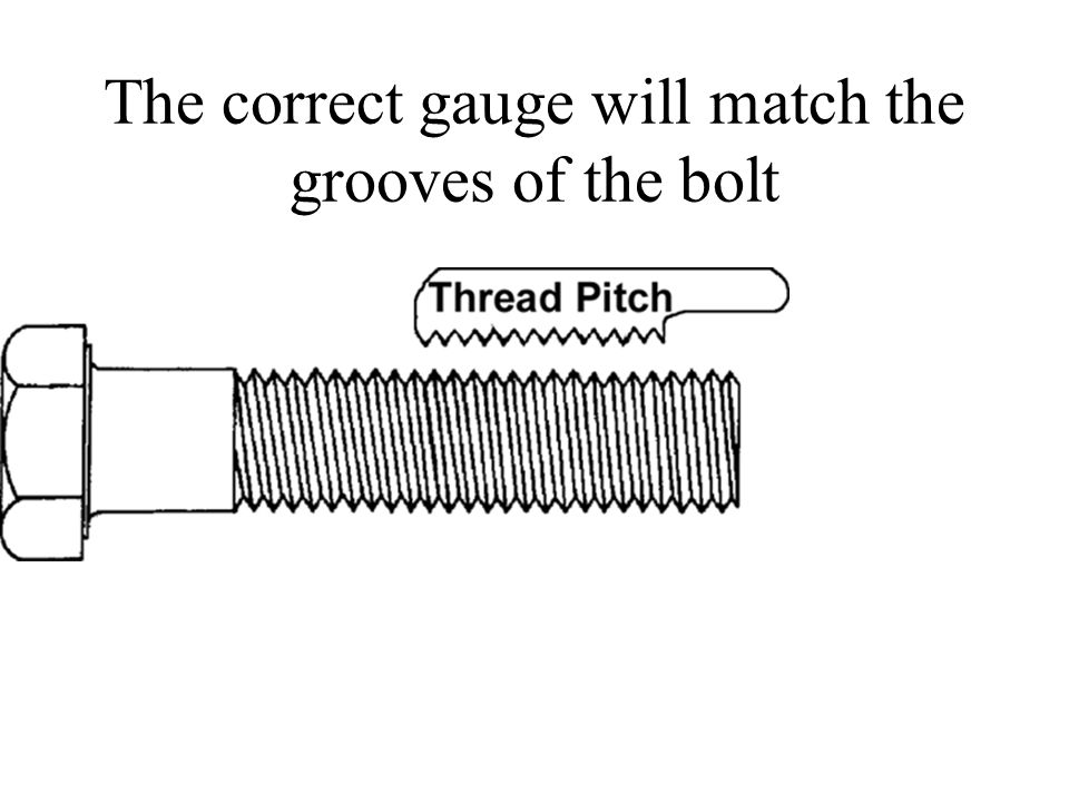 The correct gauge will match the grooves of the bolt