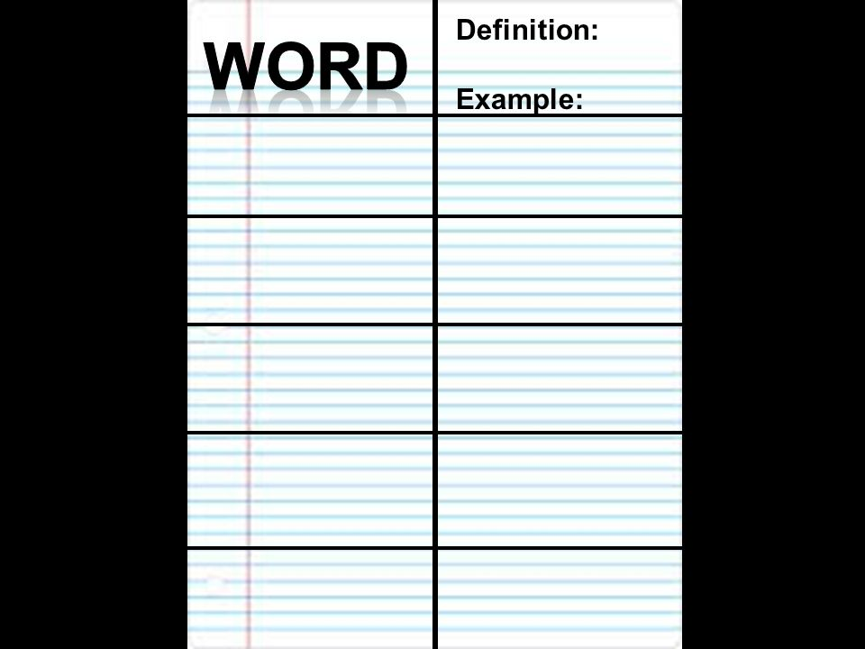 Definition: Example: Word