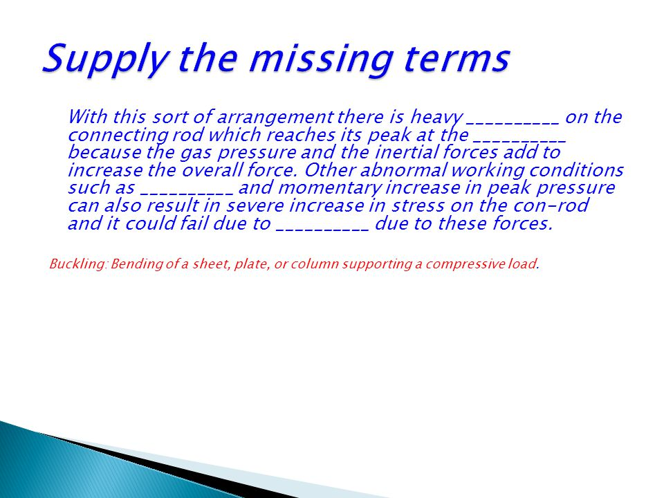 Supply the missing terms