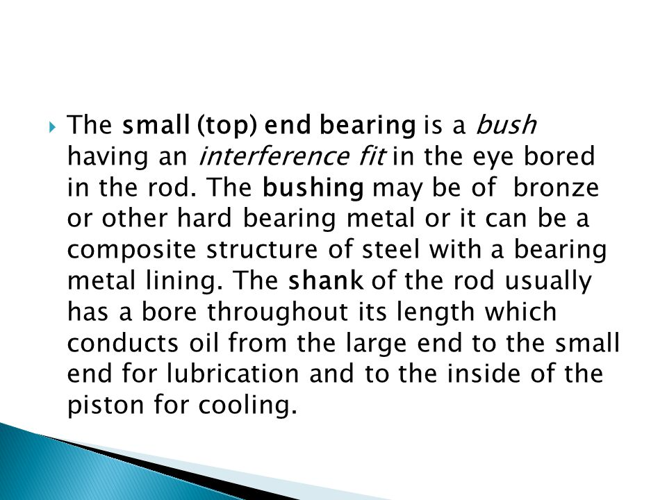 The small (top) end bearing is a bush having an interference fit in the eye bored in the rod.