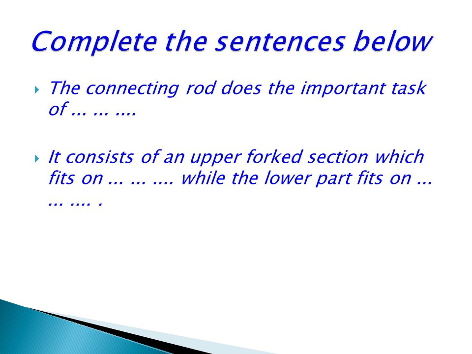 Complete the sentences below