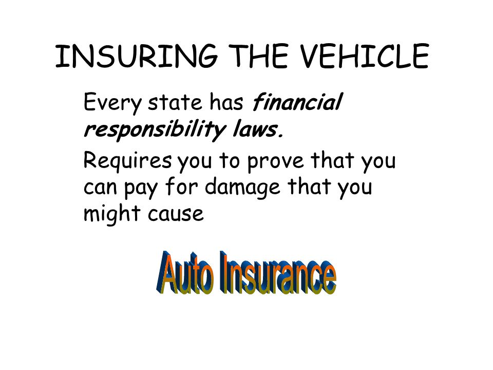 INSURING THE VEHICLE Every state has financial responsibility laws.