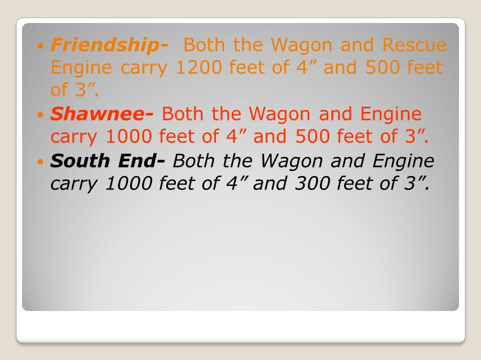 Friendship- Both the Wagon and Rescue Engine carry 1200 feet of 4 and 500 feet of 3 .