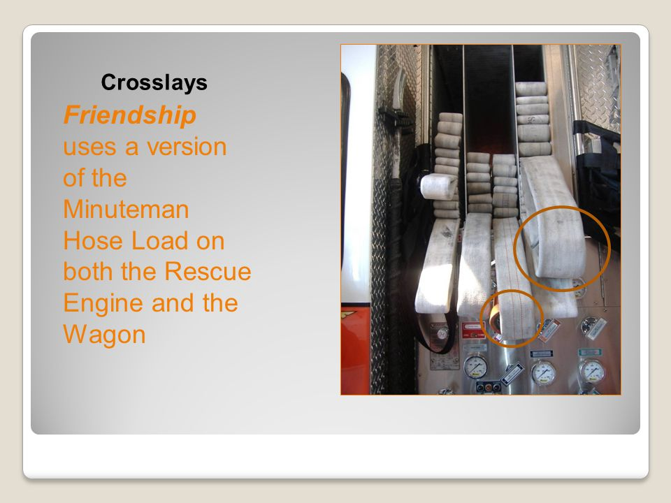 Crosslays Friendship uses a version of the Minuteman Hose Load on both the Rescue Engine and the Wagon.